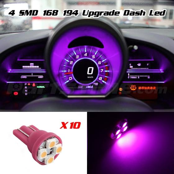 10x T10 168 Instrument Panel Cluster Pink Purple Led Light