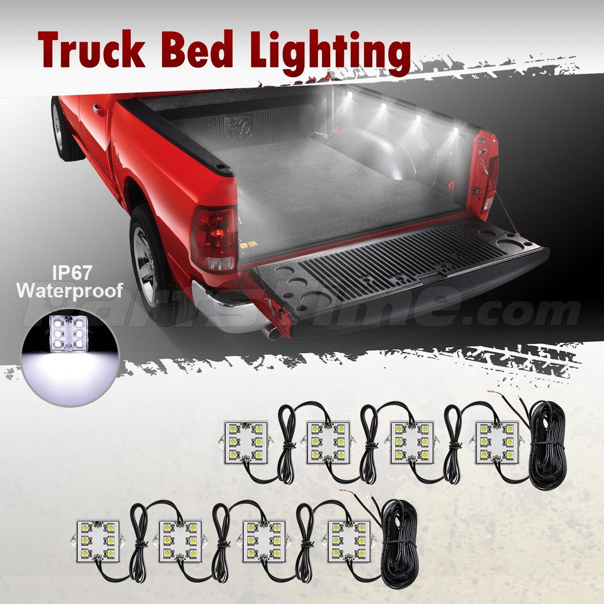 8pc Waterproof Pickup Truck Bed Light Kit LED Lighting