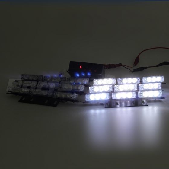 Warning Strobe Light Bars 54 LED Car Amber&White For Deck