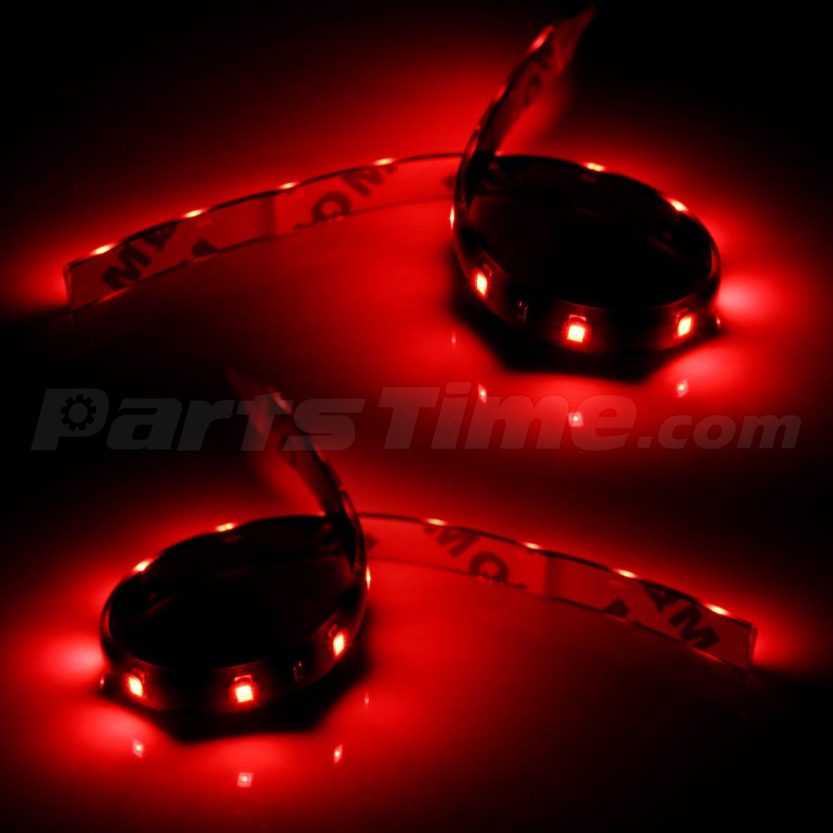 2x Red 30cm 15led Flexible Neon Strip Interior Car Van Boat Light 12v Footwell
