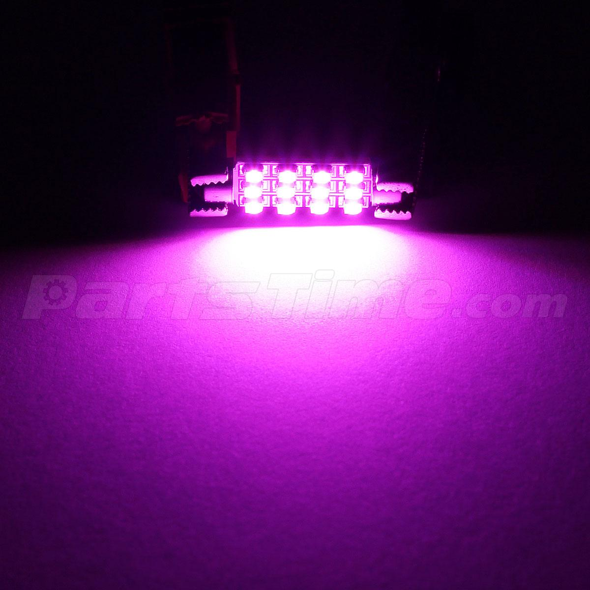10x pink purple 12 smd led 42mm festoon car interior dome map lights bulbs 6413. Black Bedroom Furniture Sets. Home Design Ideas